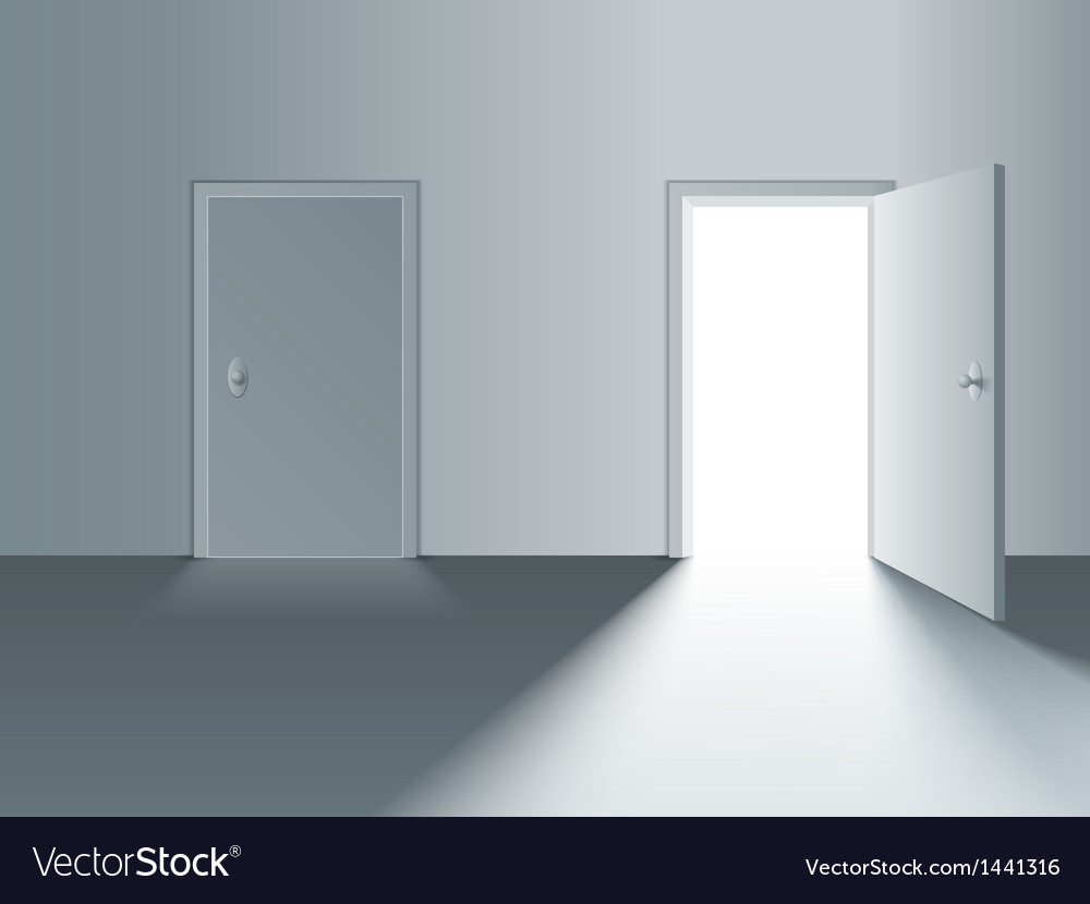 Closed and open door