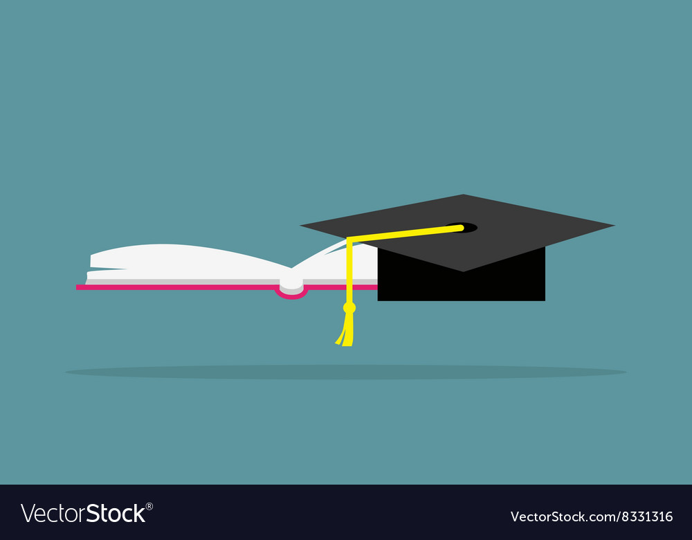Education Book and Hat Design Flat vector image