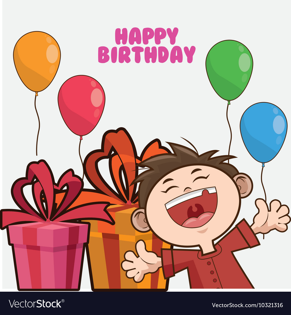 Kid Boy Balloons Happy Birthday Design Vector Image