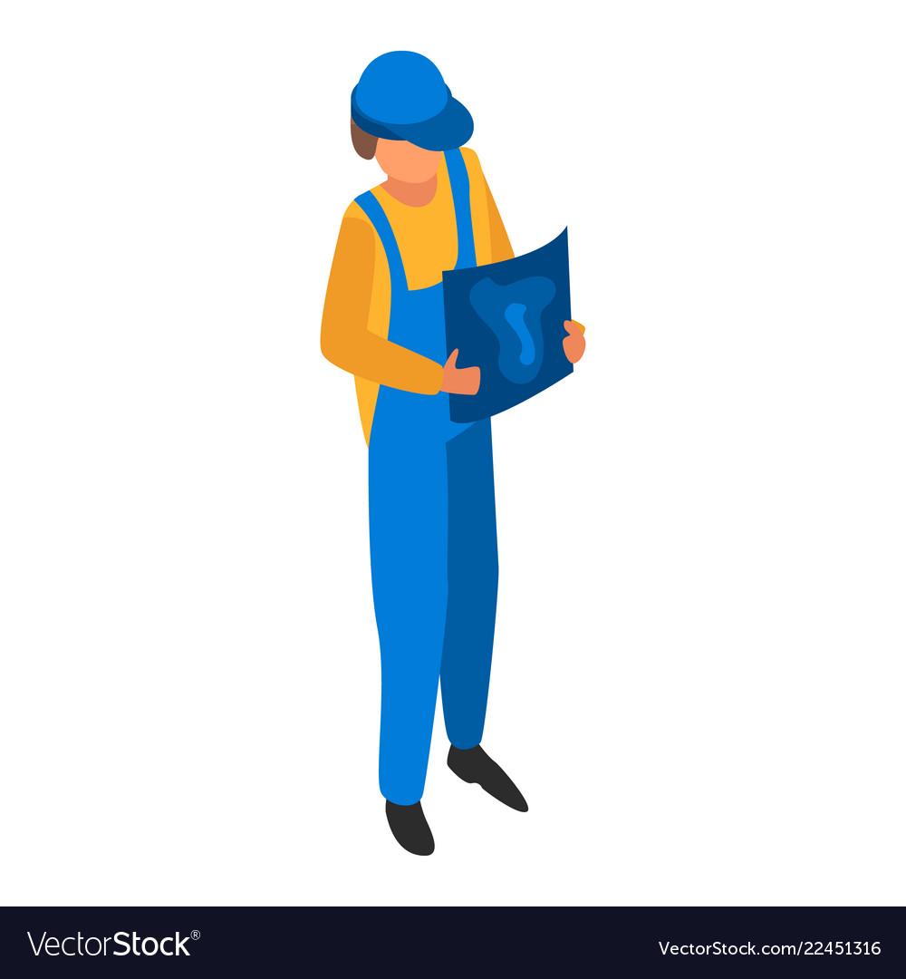 Man engineer construction icon isometric style