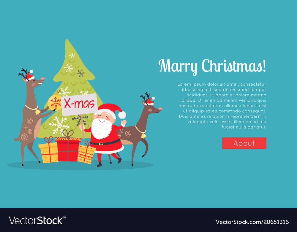 Marry christmas web banner presents with santa