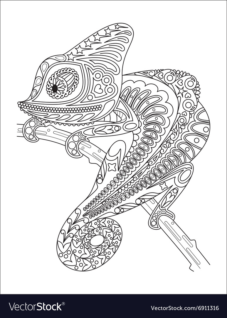 Monochrome chameleon coloring page black over vector image
