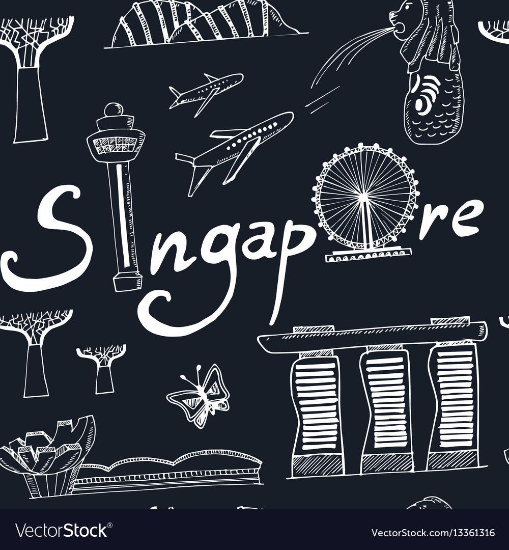 Seamless pattern singapore hand drawn icons