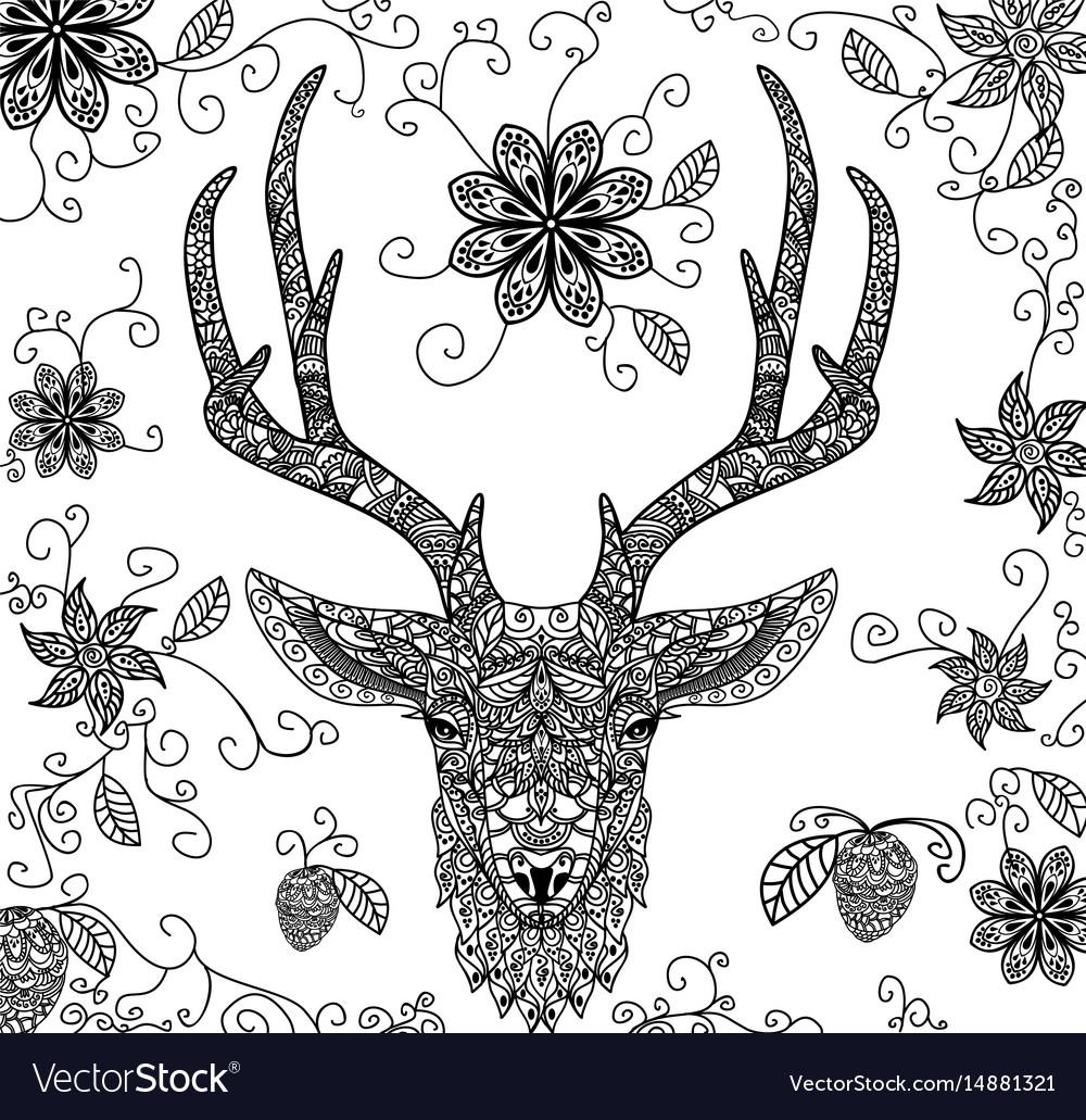 Black dear pattern vector image