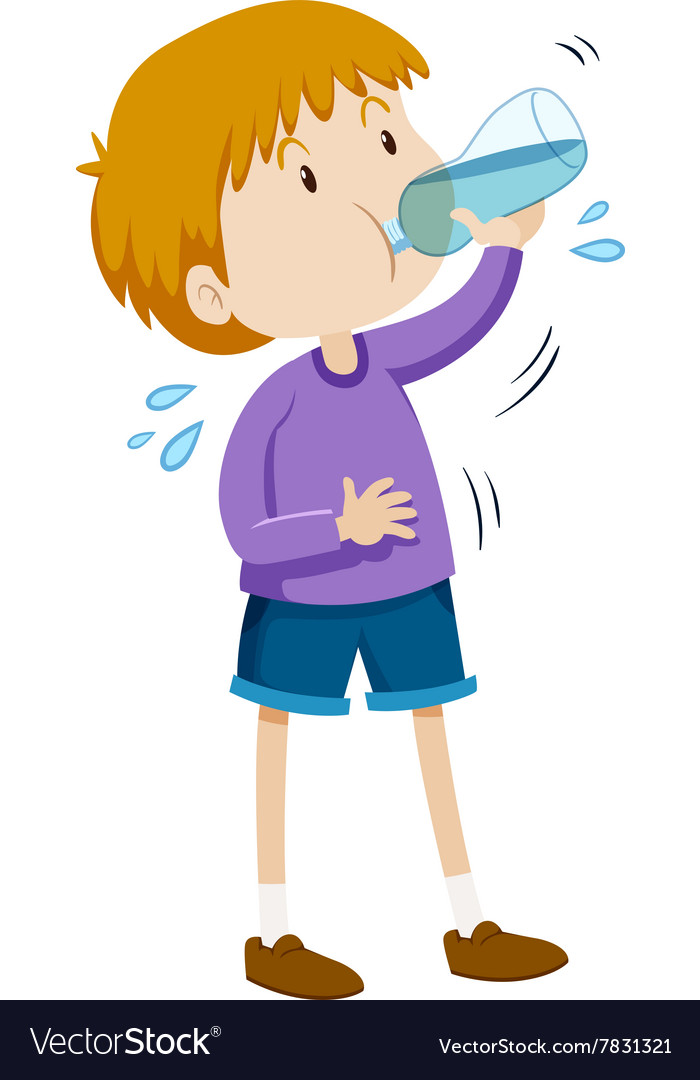 boy drinking water from bottle royalty free vector image