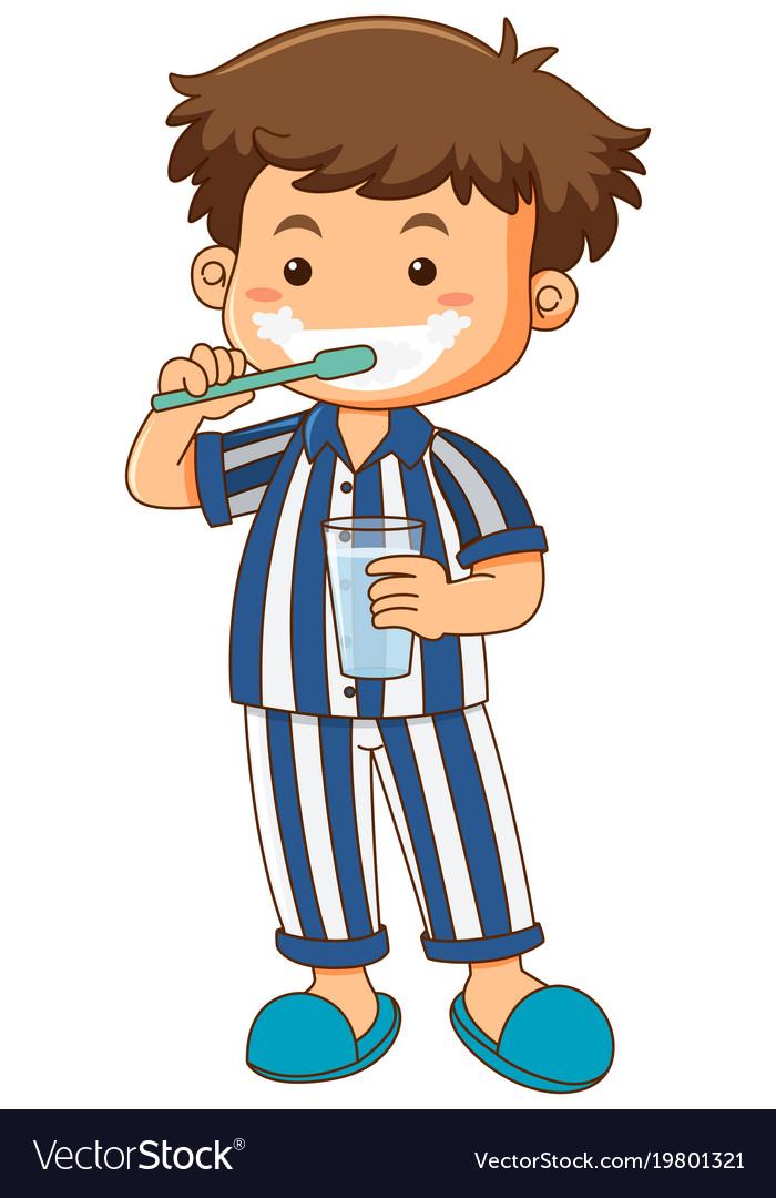 boy in pajamas brushing teeth royalty free vector image