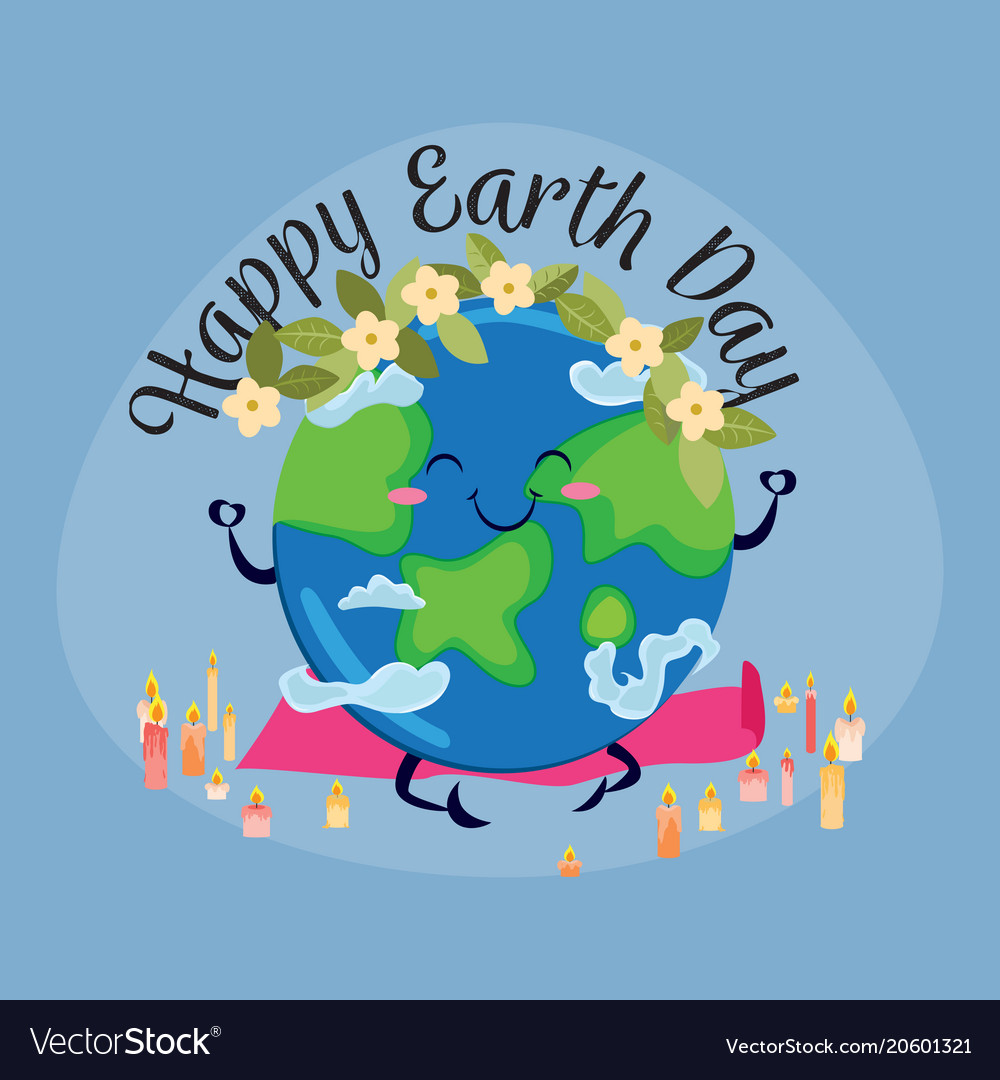 Earth day planet sits on rug for yoga and