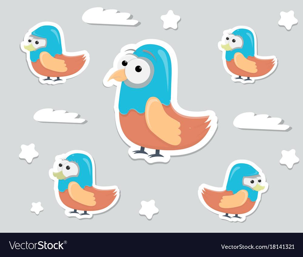 Funny cartoon character birds stickers