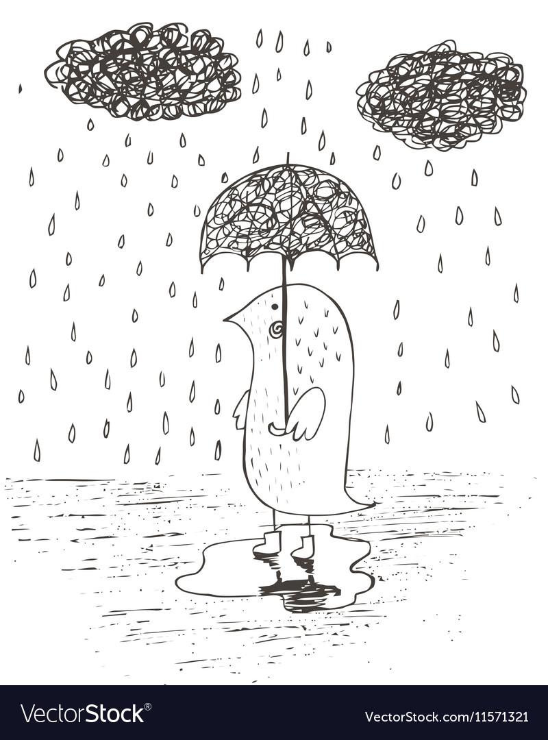 Hand drawn rain umbrella