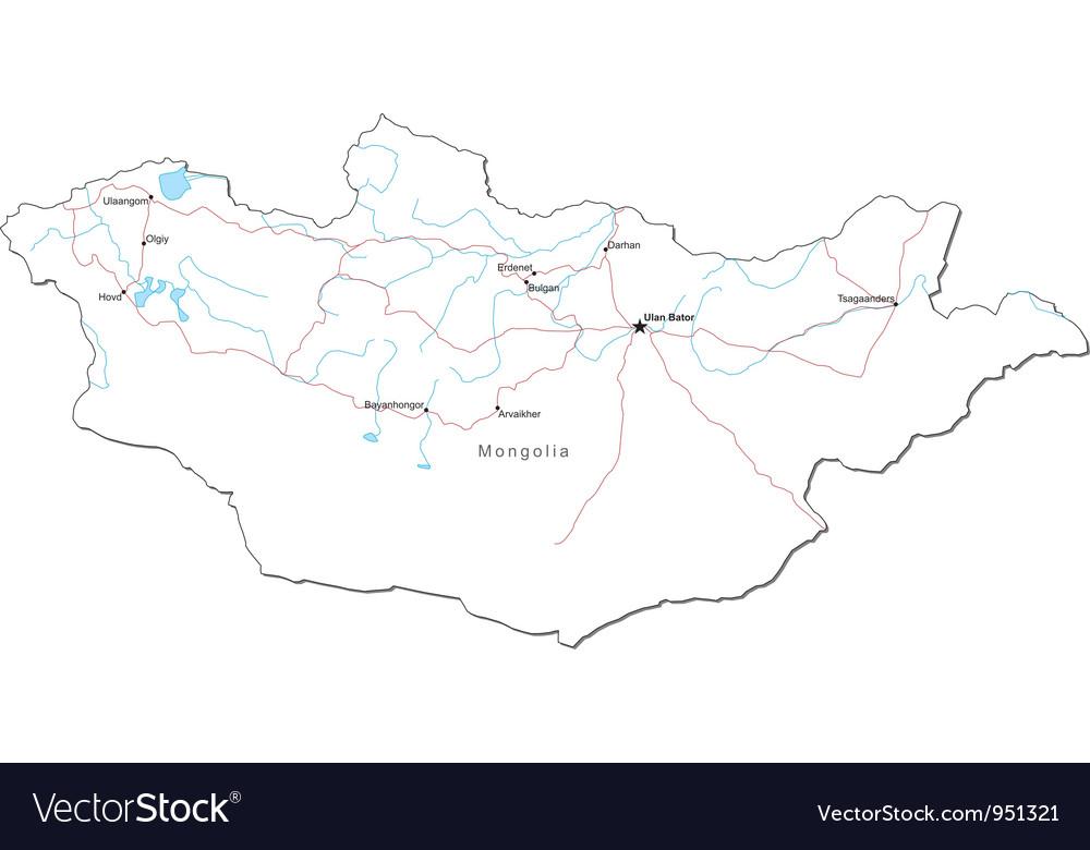 Mongolia Black White Map vector image