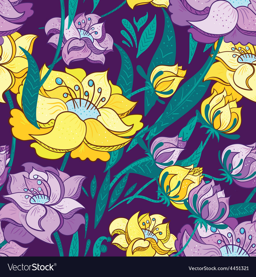 Purple and Yellow Peony Pattern