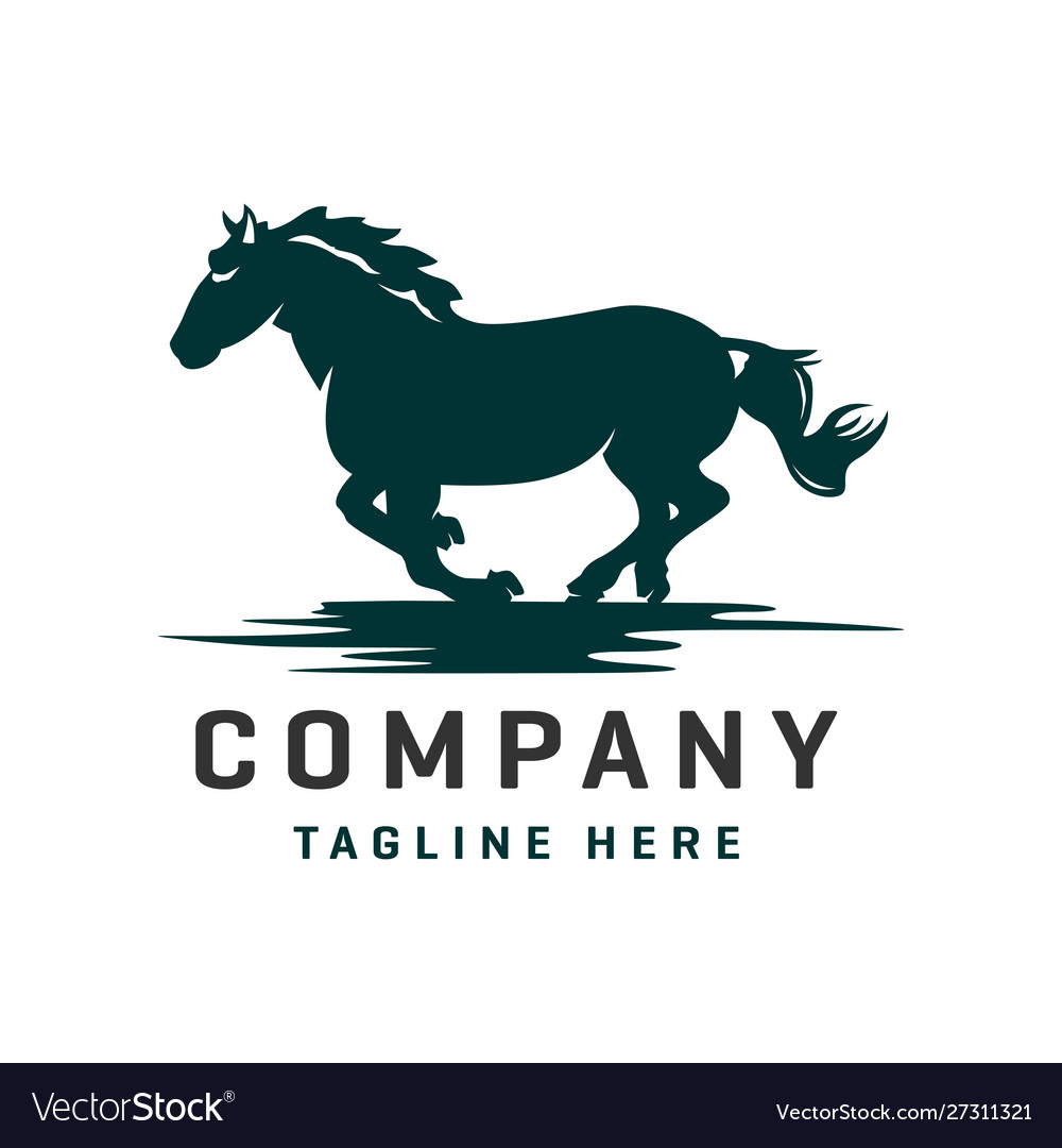 Running Horse Logo Design Template Royalty Free Vector Image