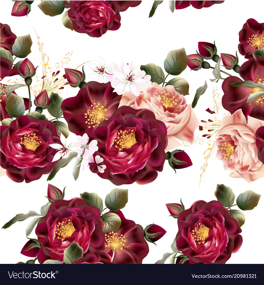 Seamless wallpaper pattern with realistic roses