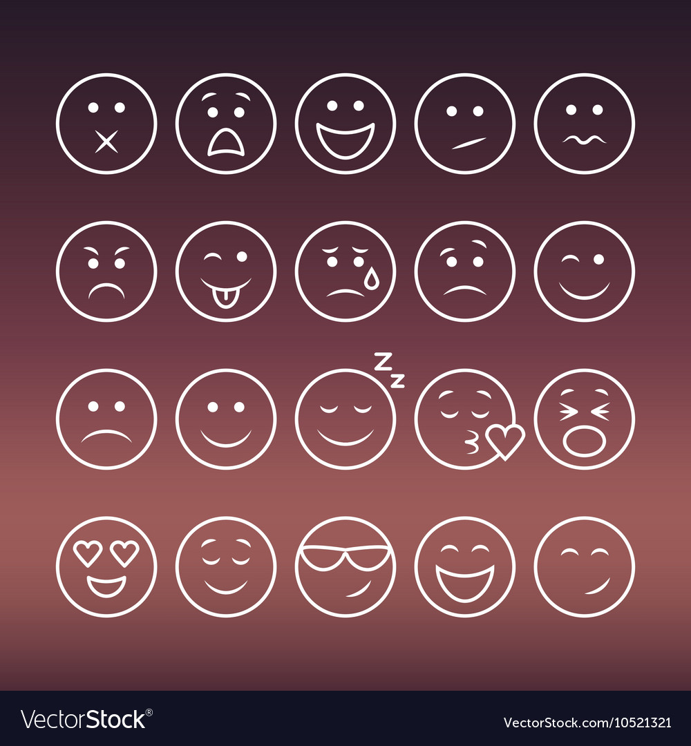 Set of thin line emoticons