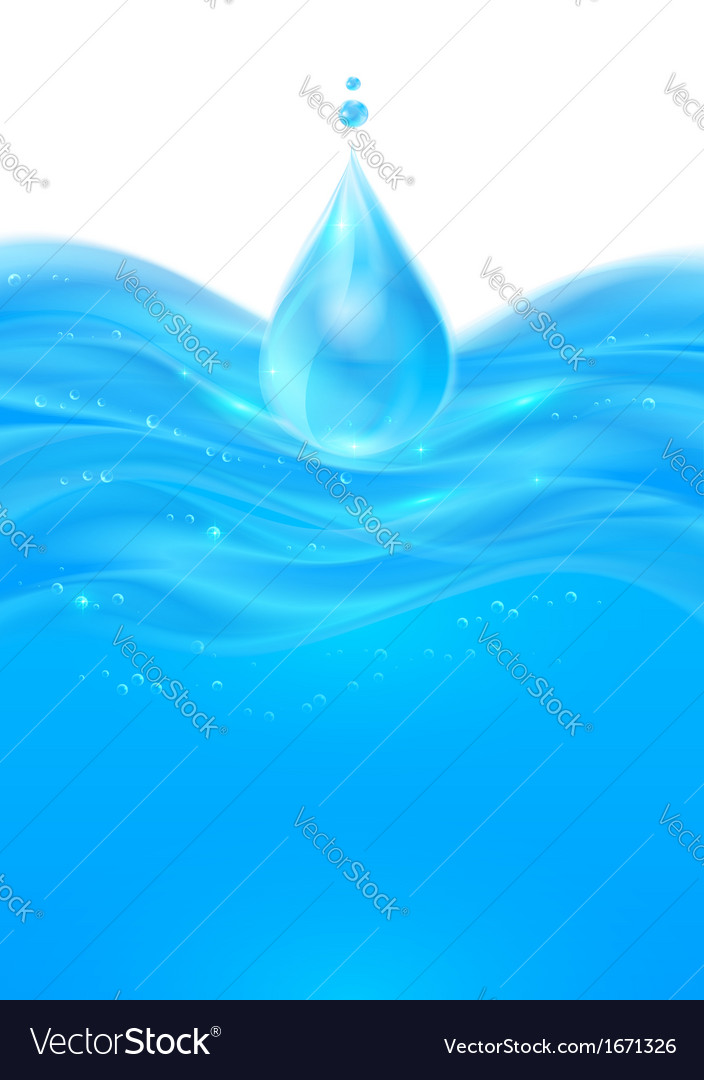 Blue realistic water background vector image