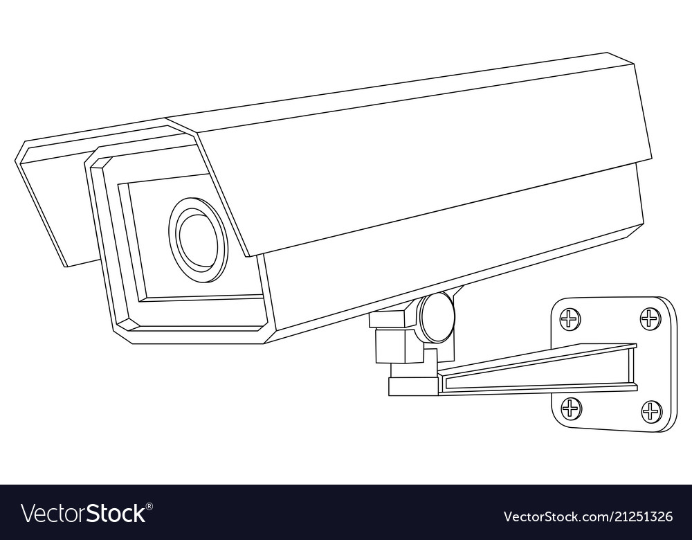 Cctv camera outline isolated