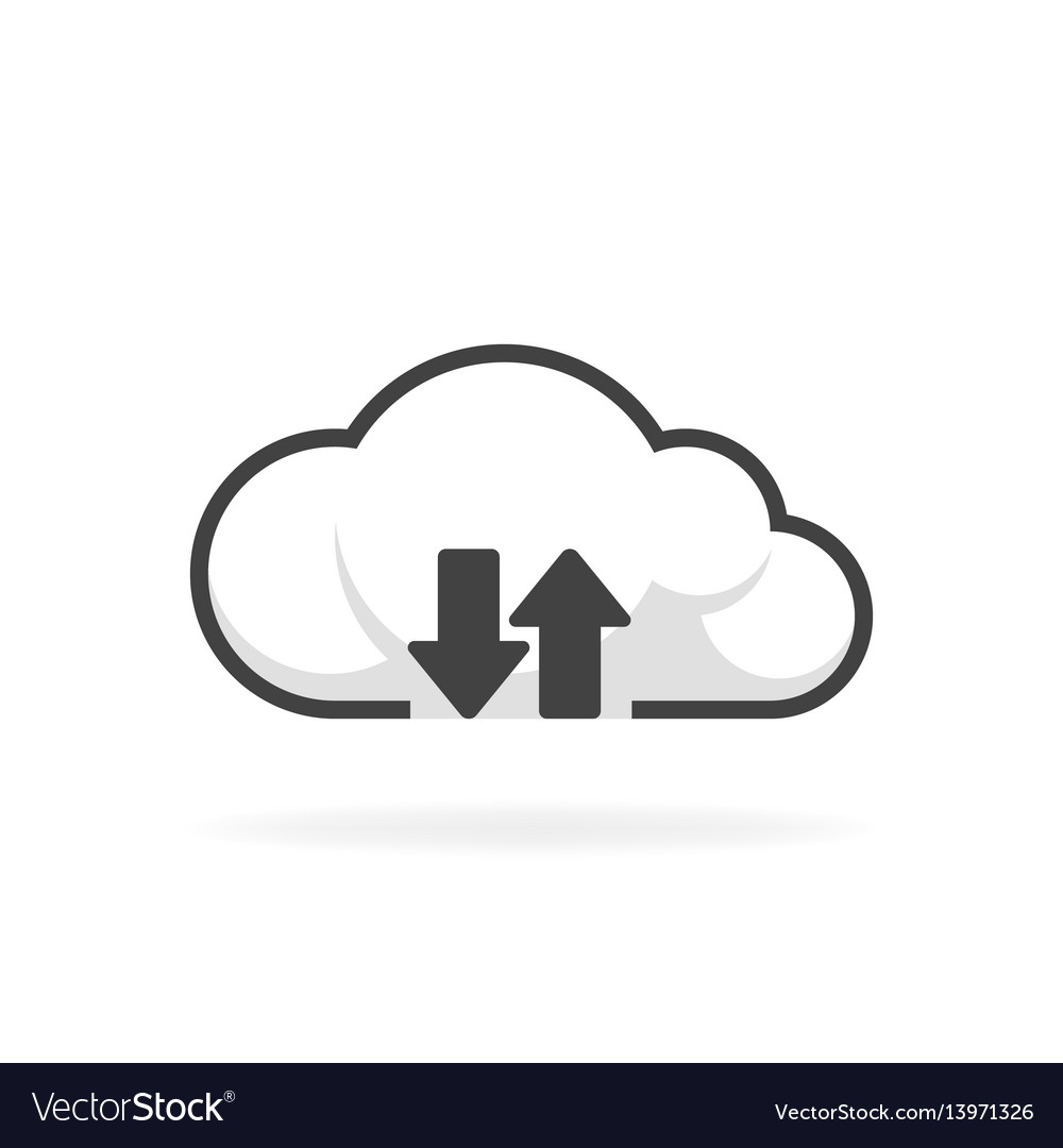 Cloud download and upload icon backup vector image