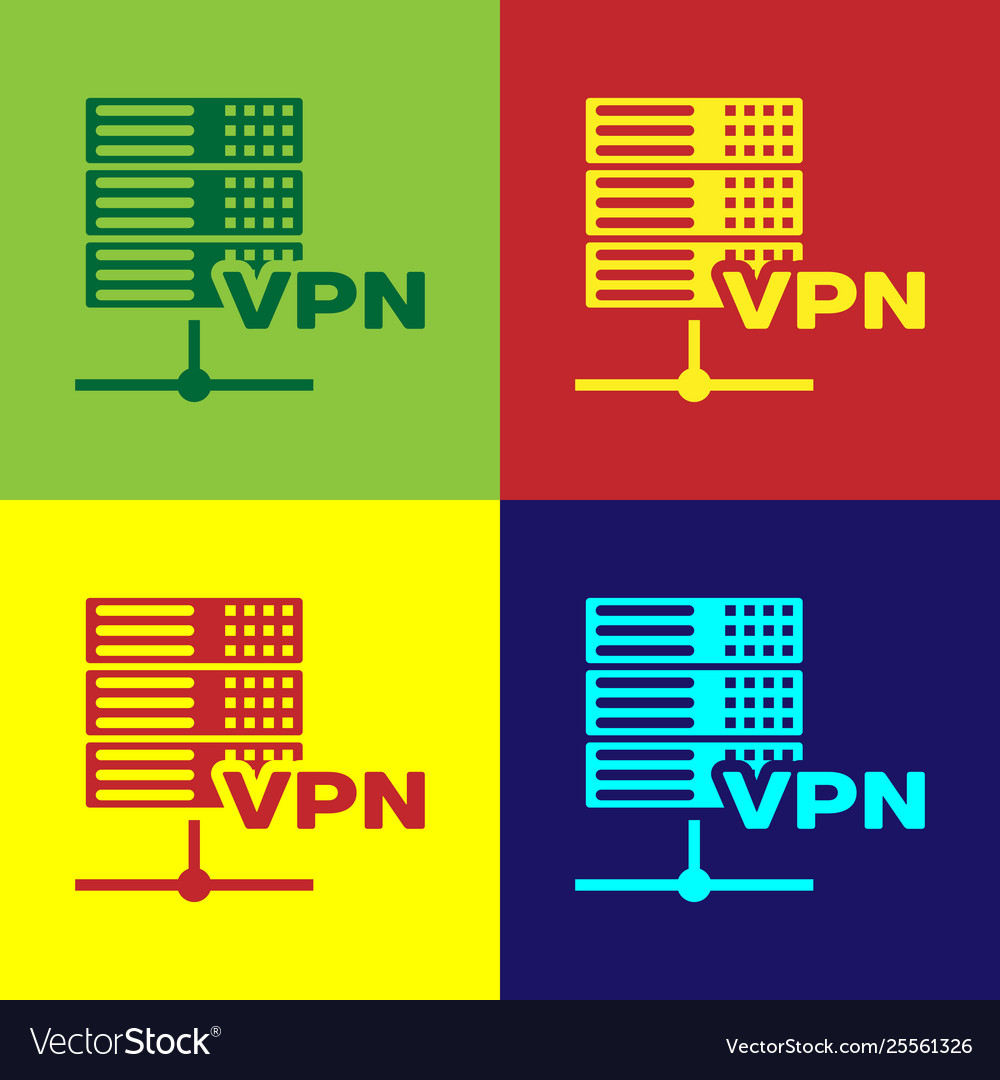 Color server vpn icon isolated on color