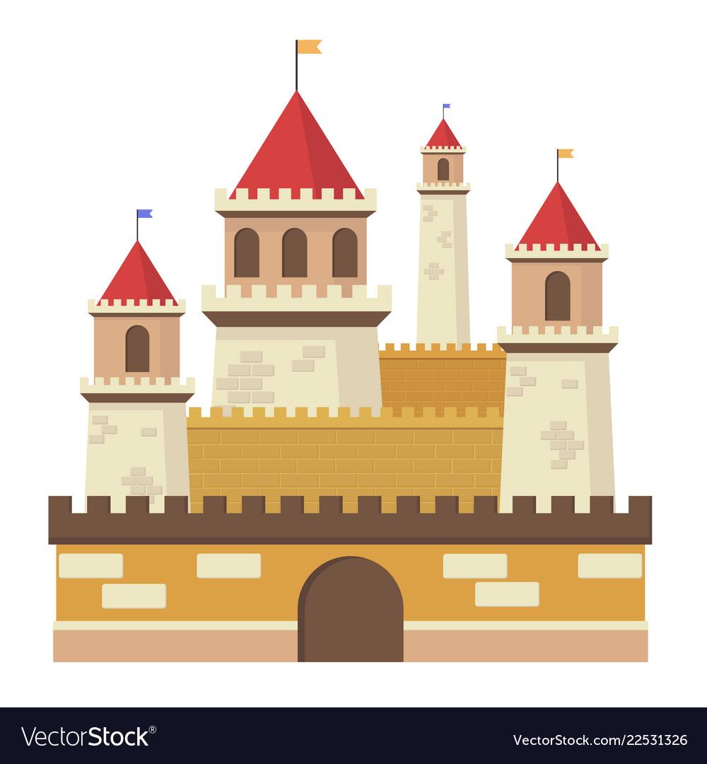 Cute fantasy middle sentury castle isolated