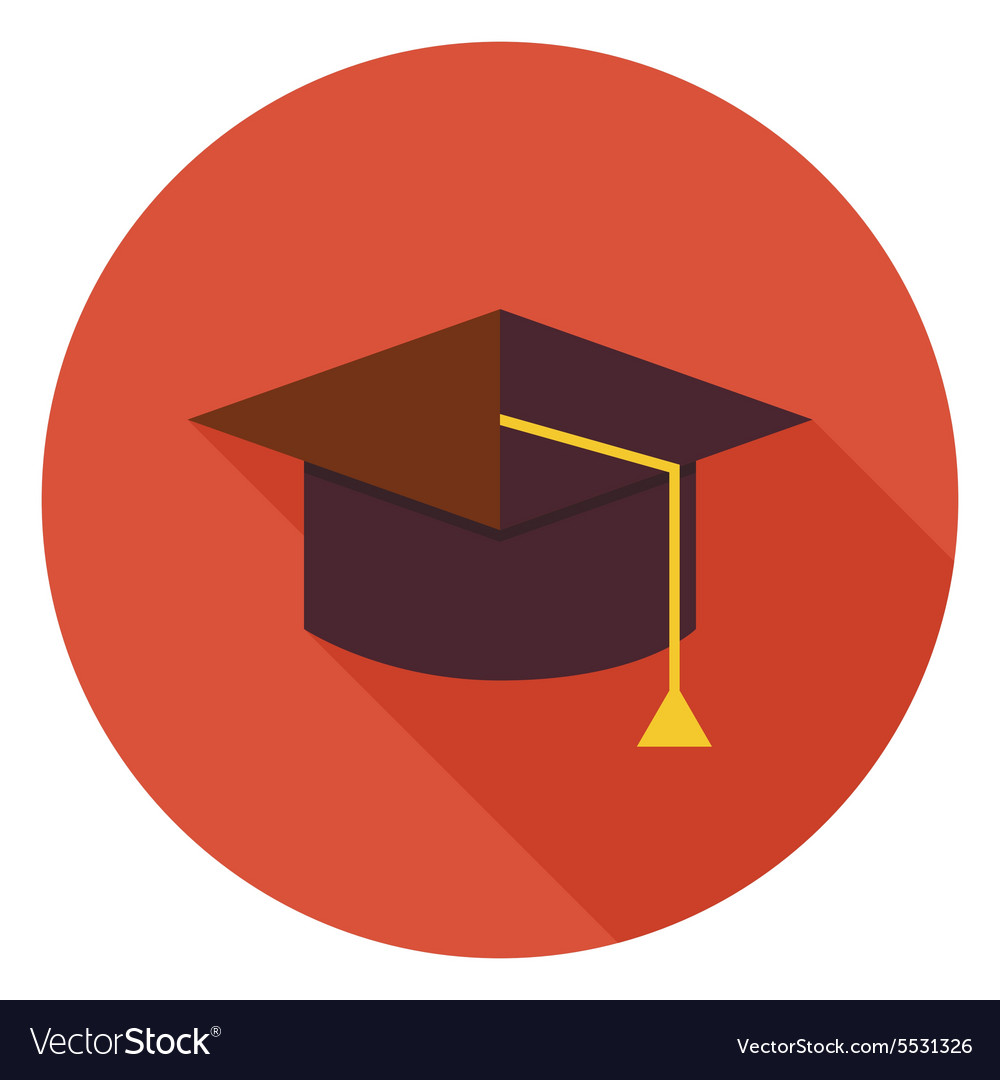 Flat Education Graduate Hat Circle Icon with Long