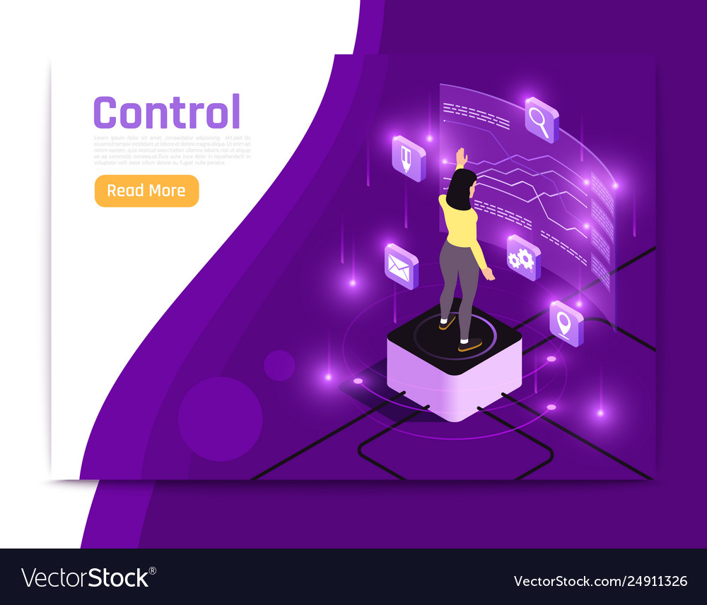 Glow isometric people and interfaces banner