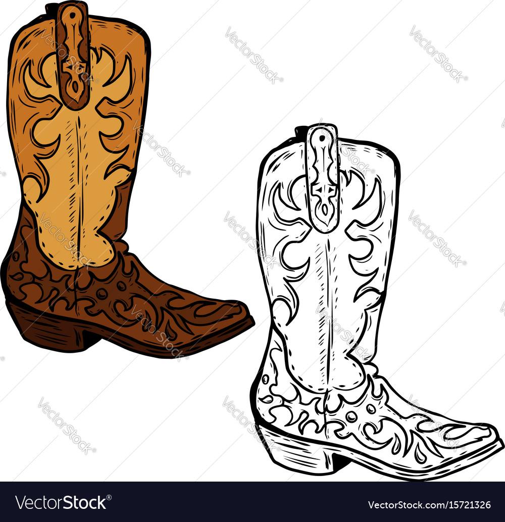 Hand drawn cowboy boots design element