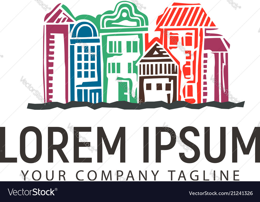 Hand drawn urban town logo design concept template vector image