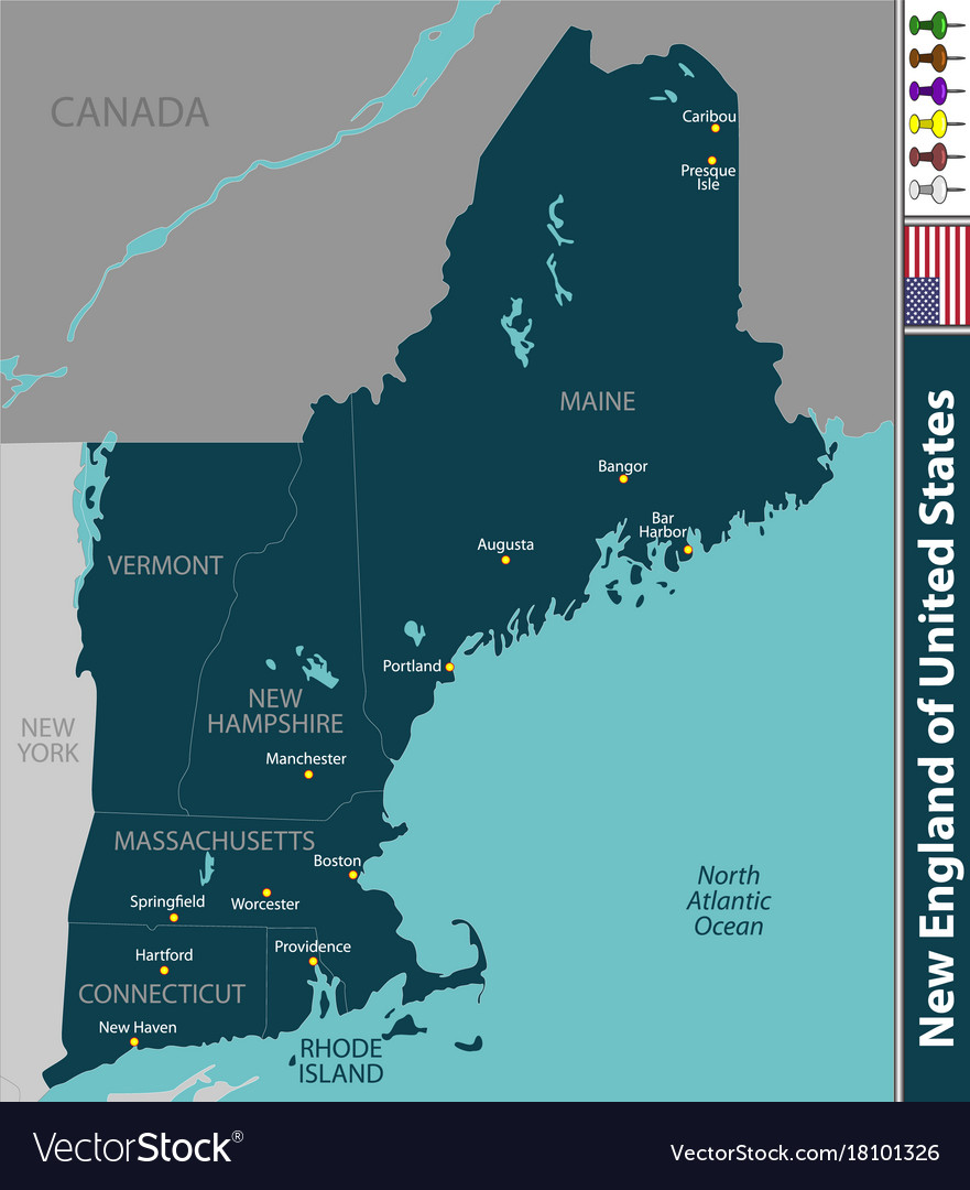 Map, New, England & Usa Vector Images (24)