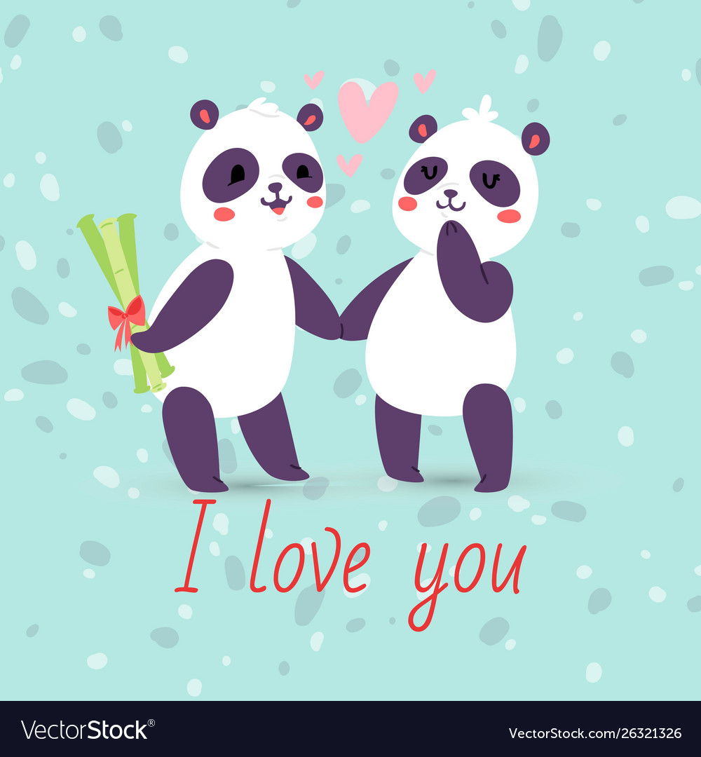Pandas couple in love banner greeting card