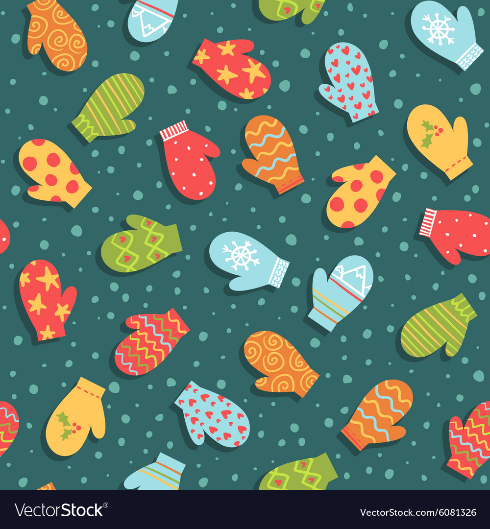 Seamless pattern with mittens and snow