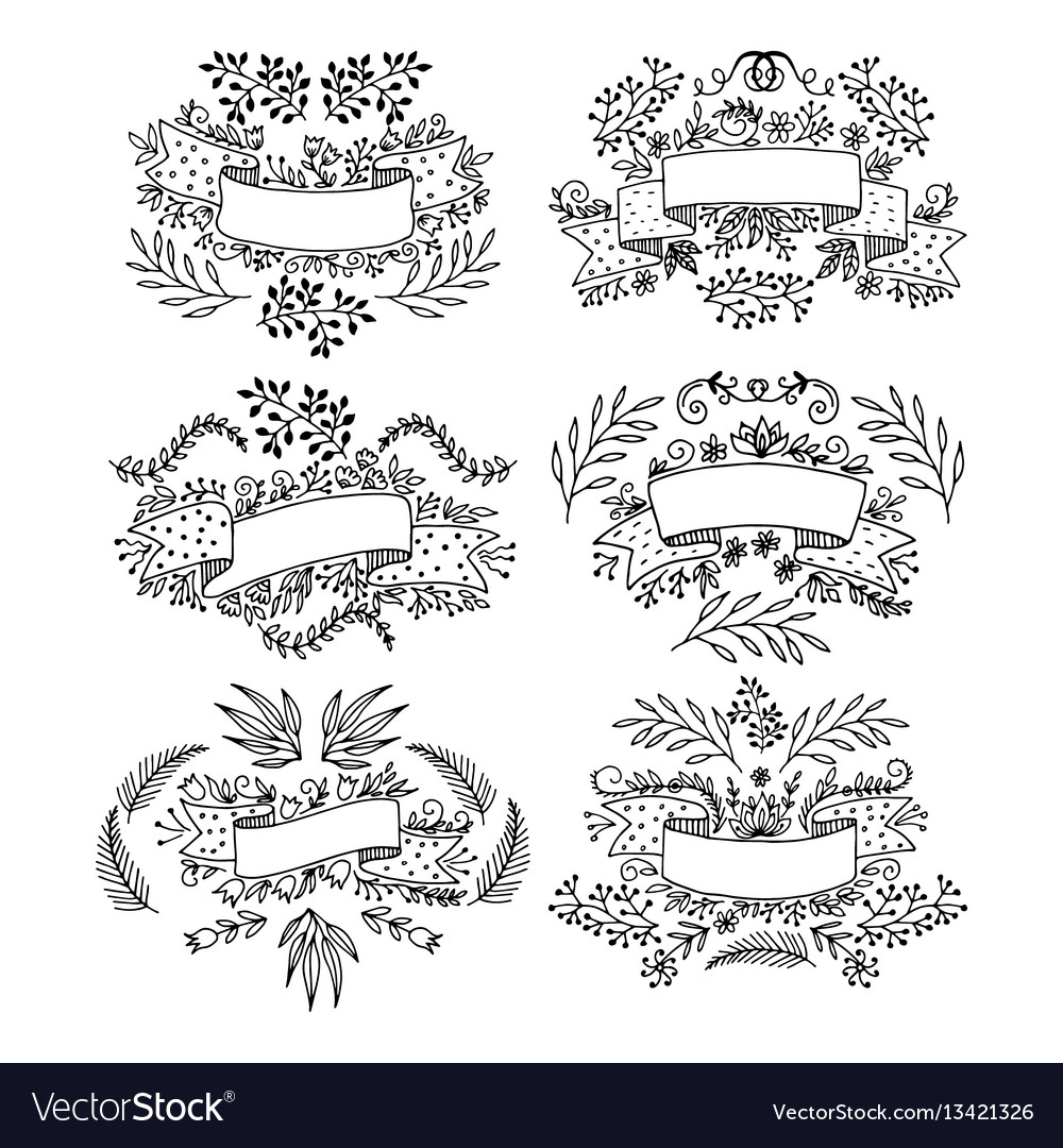 Set of floral design elements drawn by hand vector image