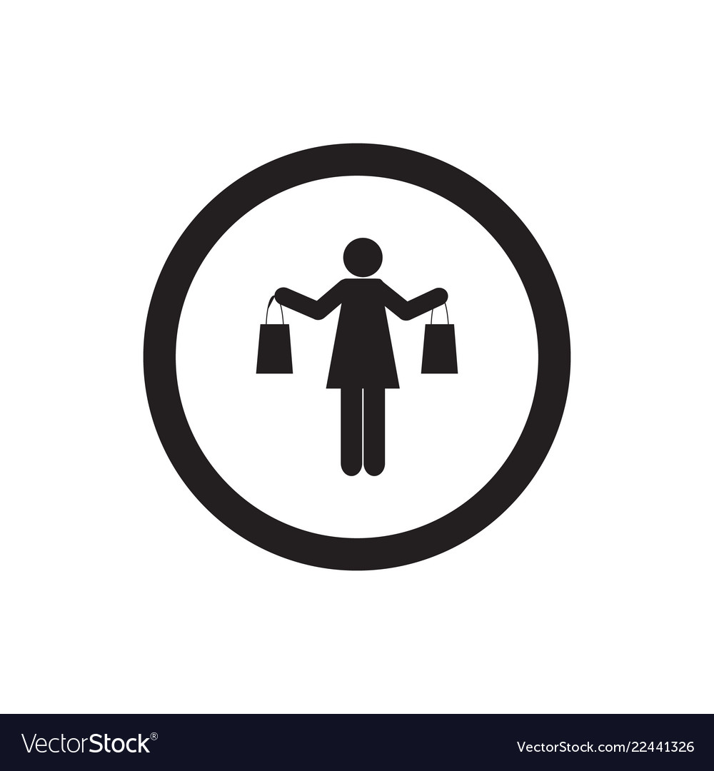 Sign of girl shopping woman shopping icon