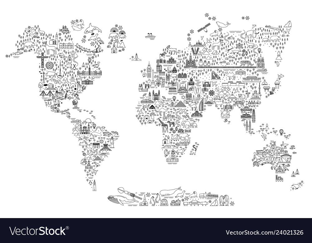 World Map Line Art Travel Icons Royalty Free Vector Image