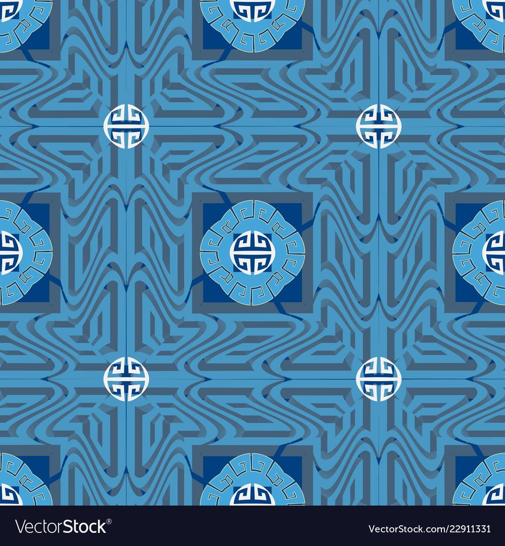 Blue ornamental greek seamless pattern ornate