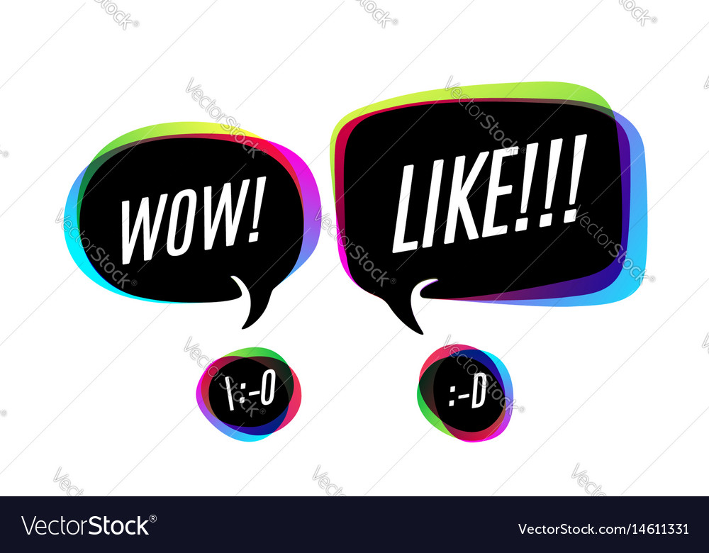 Colorful bubbles with text wow and like vector image