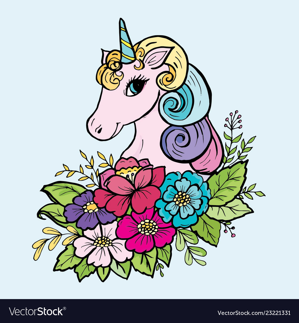 - Doodle Cute Unicorn In The Colors Of The Color Vector Image
