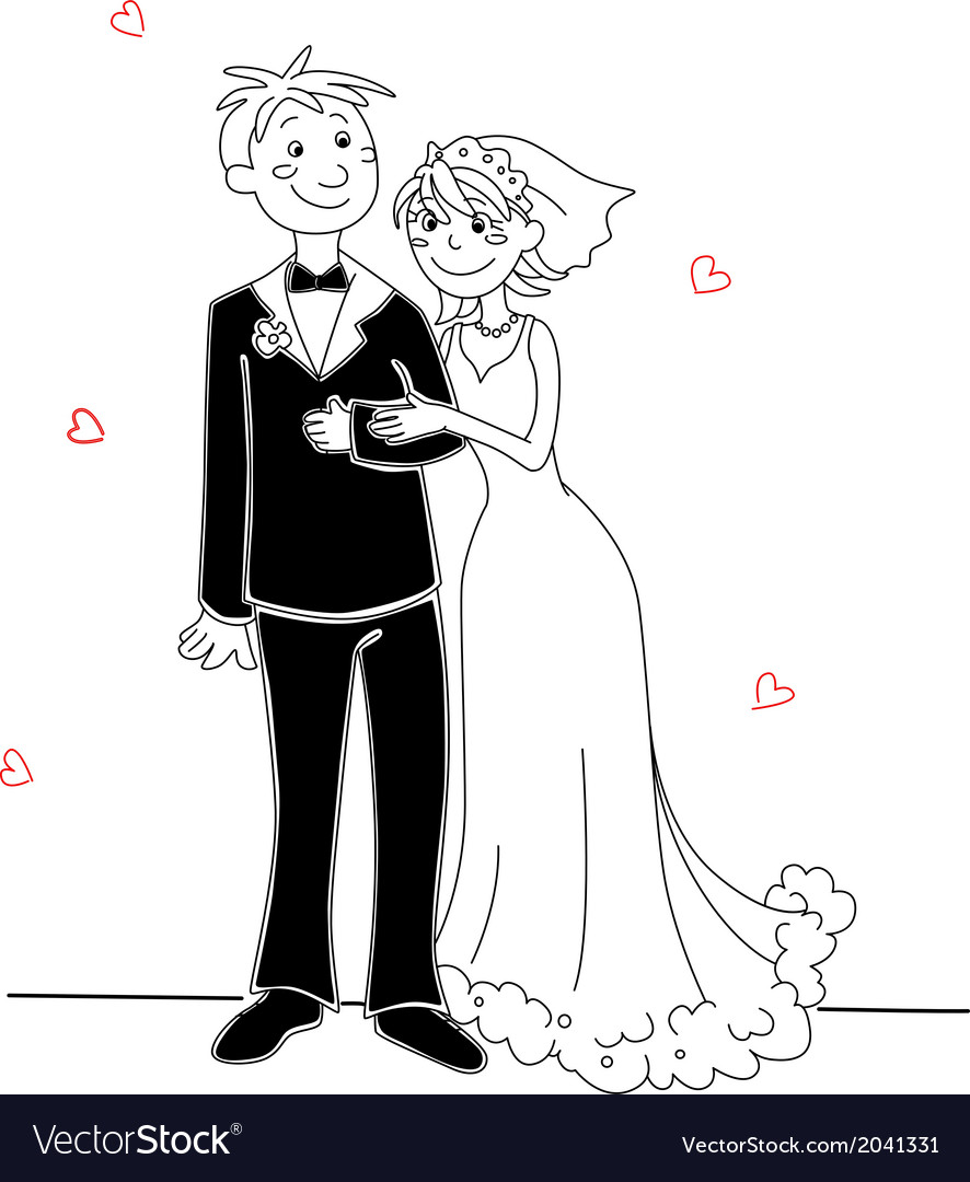 Funny Bride And Groom Royalty Free Vector Image