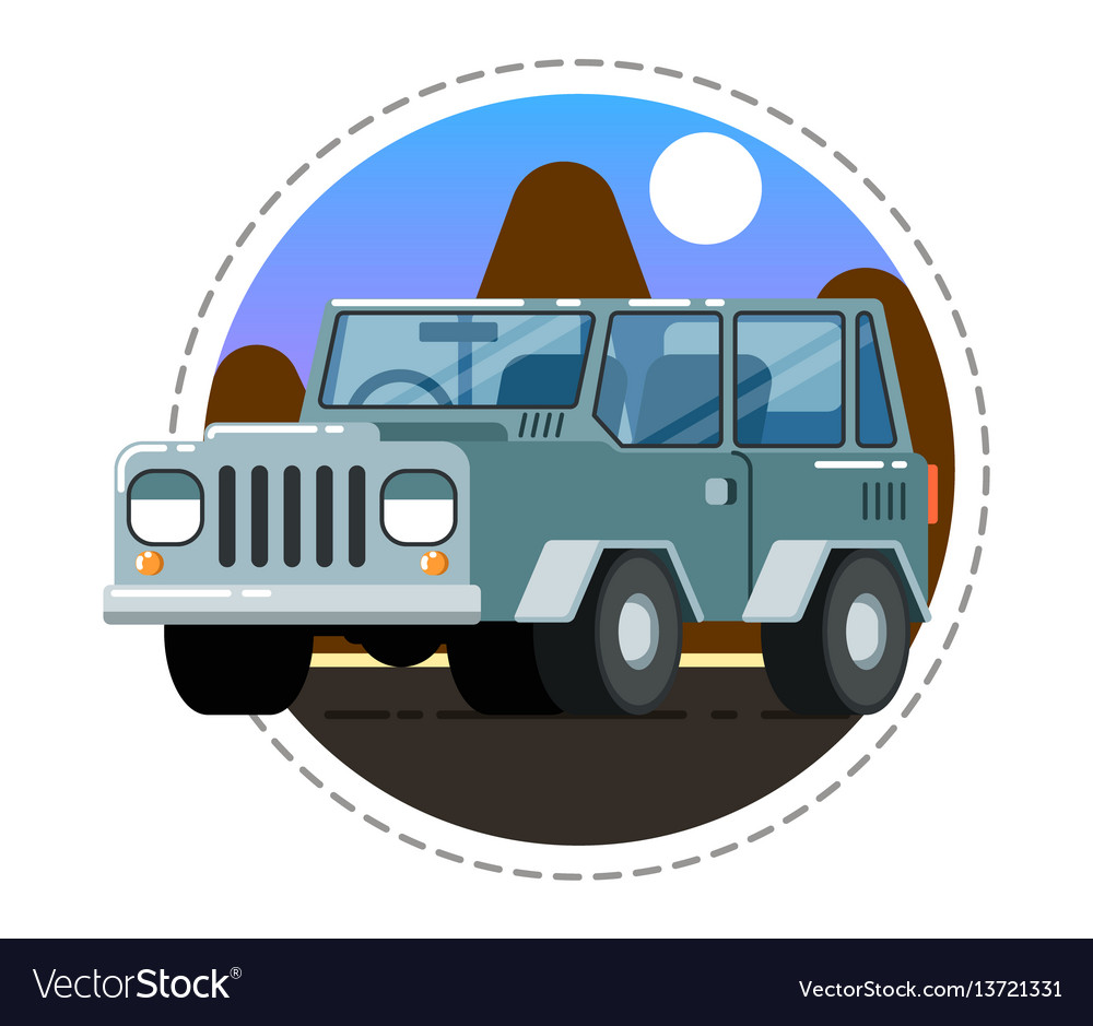 Grey offroad truck icon