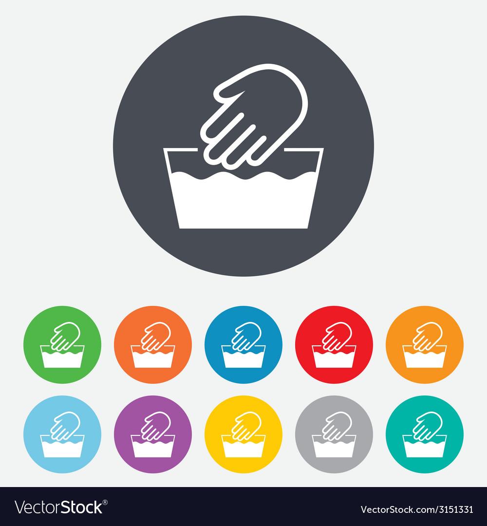 Hand wash sign icon Not machine washable symbol vector image