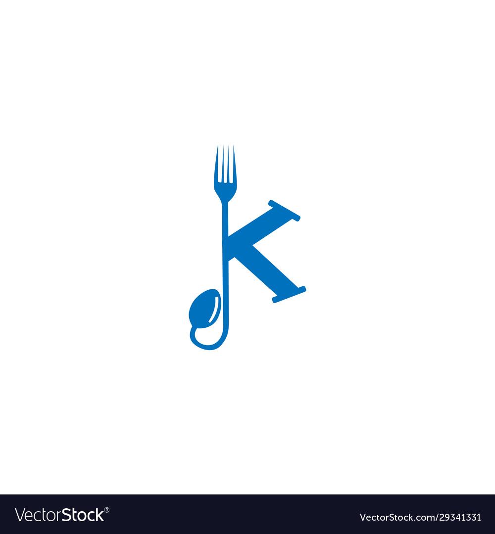 Letter k fork and spoon logo
