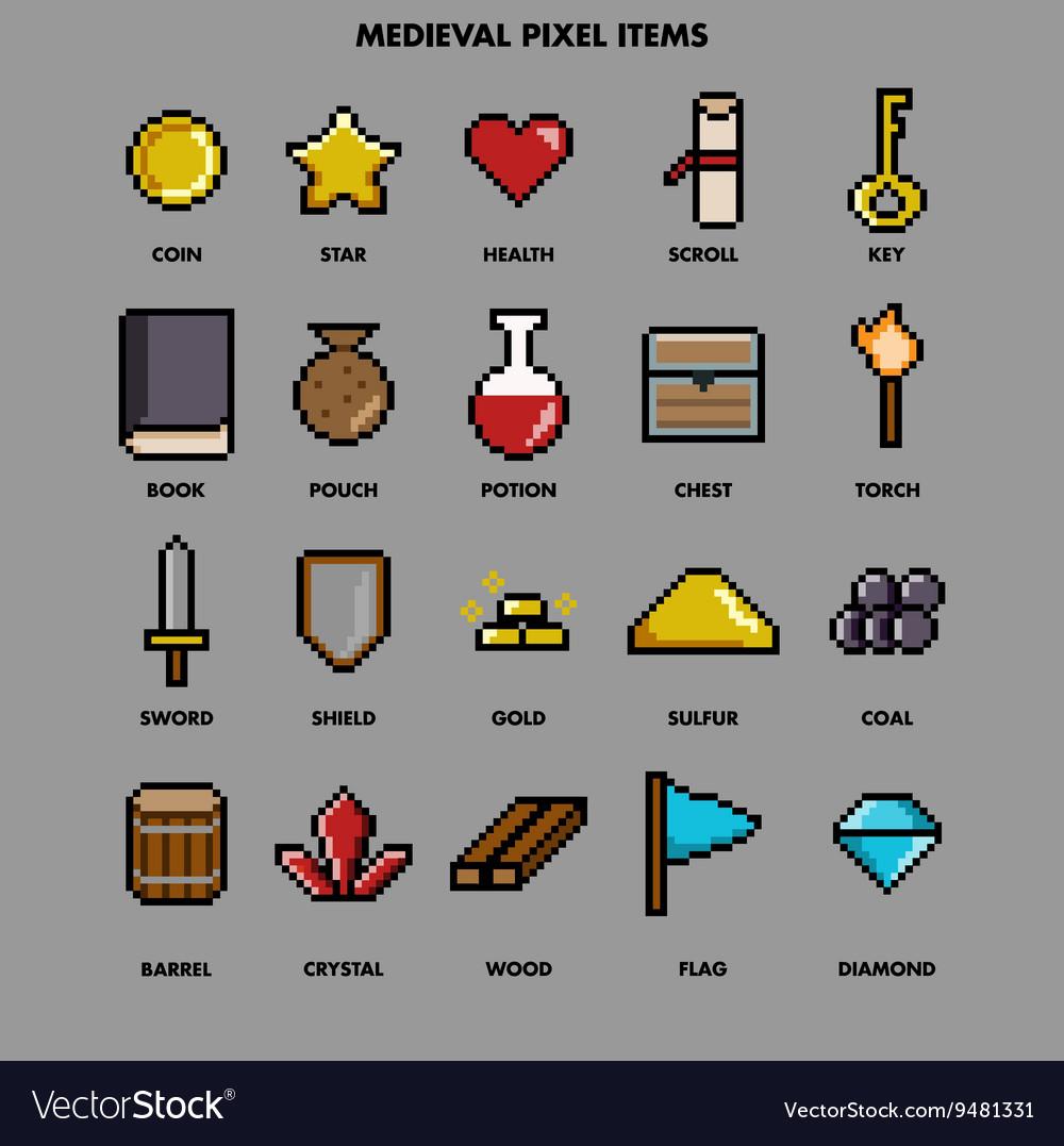 Medieval pixel items