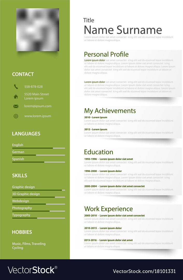 professional green white resume cv with design vector image