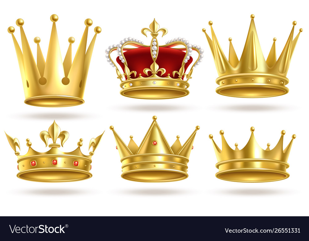 Realistic golden crowns king prince and queen