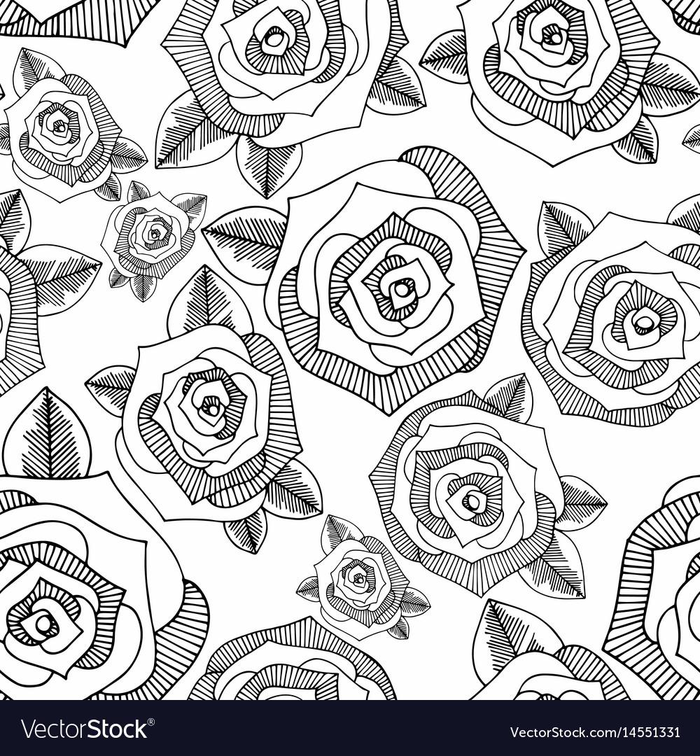 Roses hand drawing seamless background
