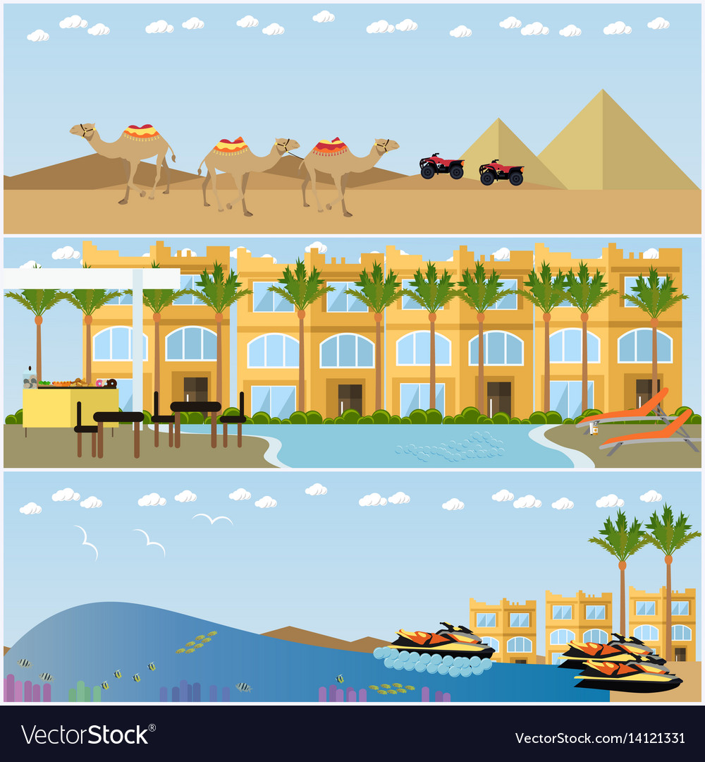 Set of egyptian resorts and famous places vector image