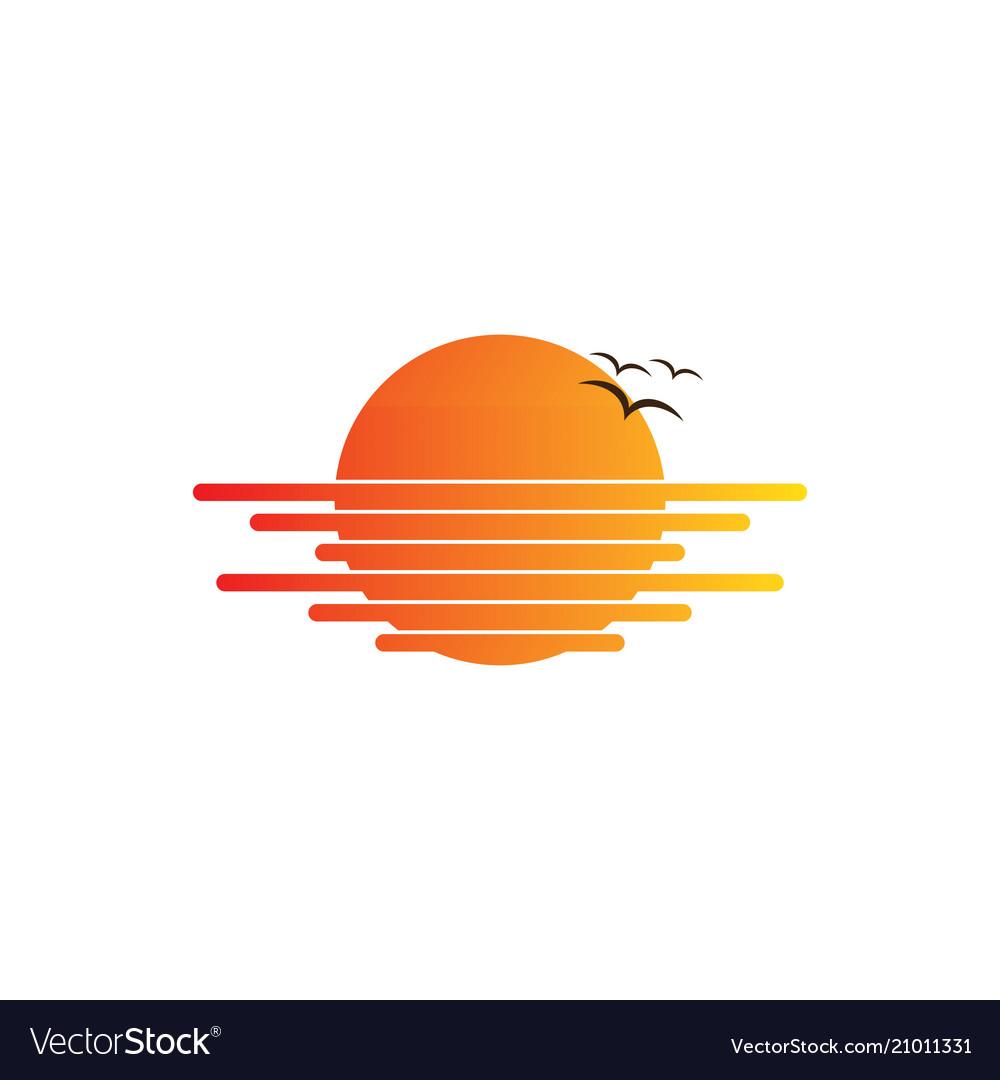 Sunset bird travel logo