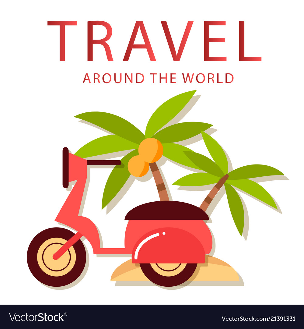 Travel around the world scooter coconut tree backg