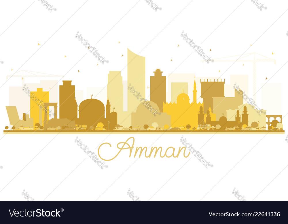 aa6cb236335d Amman jordan skyline silhouette with golden Vector Image