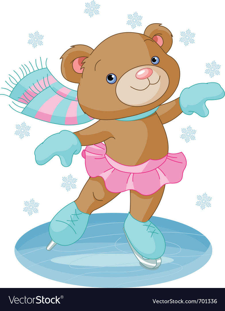 Bear girl on ice skates vector image