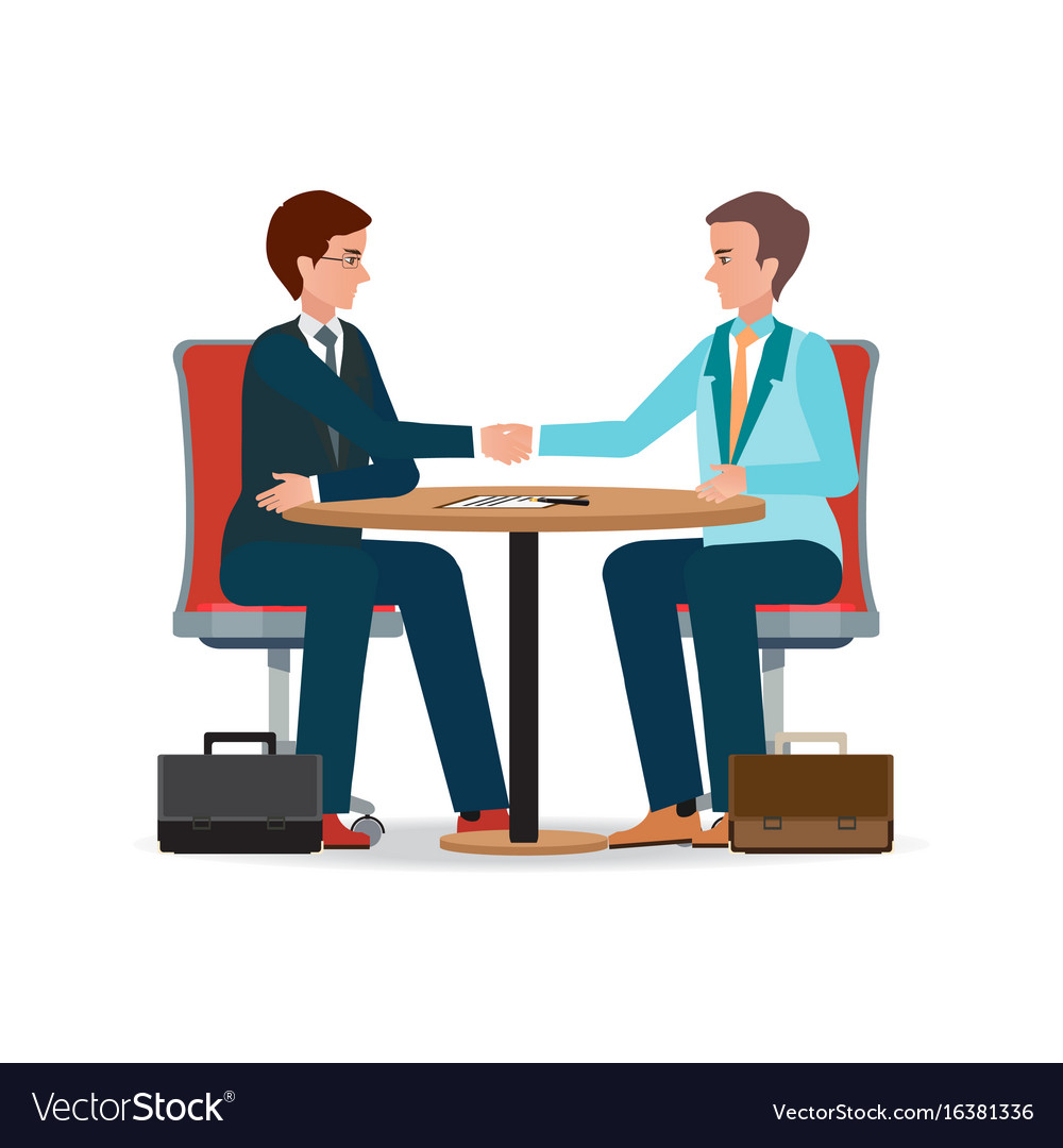 Businessman shaking hand over a round